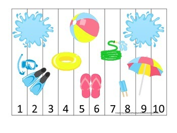 Summer season themed Number Puzzle child care learning activity.  Preschool.