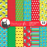 Summer snowman papers, commercial use, scrapbook papers, patterns - PS894