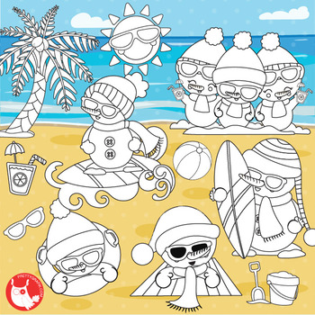 Summer snowman stamps,  commercial use, vector graphics, images  - DS1043