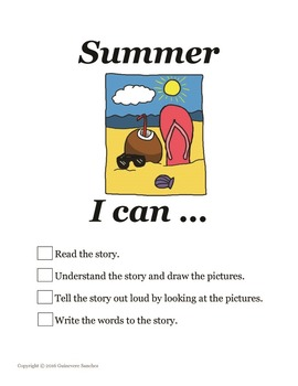 Summer story w/ seasonal clothing, weather & activities - read, draw, write