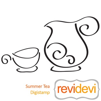Summer tea (digital stamp, coloring image) S021, tea party