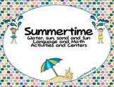 Summertime! Language/math activities for all things sand, sun, water and fun!