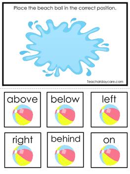 Summer themed Positional Game.  Printable Preschool Curriculum Game