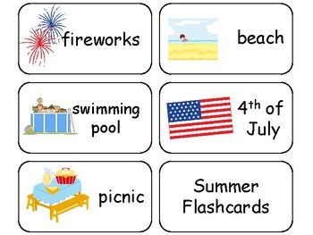 Summer themed printable Picture Word Flashcards. Preschool flashcards.