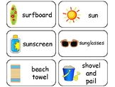 Summer themed printable Picture Word Flashcards. Preschool