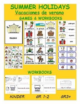 Summer vacation / Vacaciones de verano SPANISH Workbook &