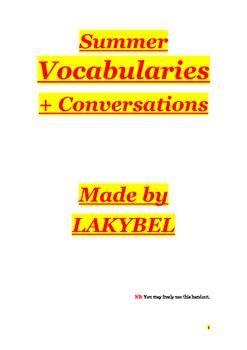 Summer vocabularies+ conversations
