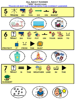 """All About Summer adapted """"wh"""" questions (speech, comprehension, autism)"""