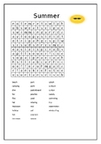 'Summer' wordsearch with secret message (intermediate level)