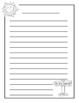 Summer/Beach Intermediate Writing Paper