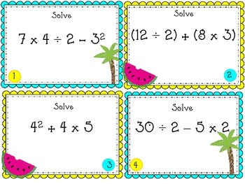 Summer/Beach Order of Operations Task Cards
