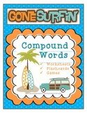Compound Words Activity Packet: Games, Worksheets, & Flashcards. Surf theme set.