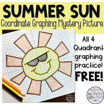 Spring Break Sun Coordinate Graphing Picture Freebie Tpt