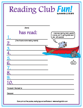 Summertime Action Reading Log and Certificate Set