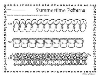 Summertime Basic Patterns Coloring Practice