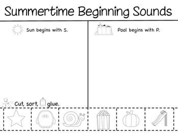 Summertime Beginning Sounds