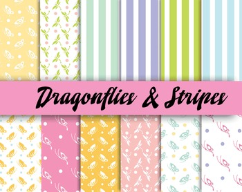 Summertime Dragonfly Patterns - 300 DPI - 12 x 12 in. - Vector PDF and PNGs