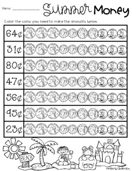 Summertime / End of the Year: Counting Money - Coloring Coins Activities