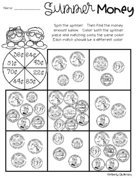 Summertime / End of the Year: Counting Money - Spinner Activities