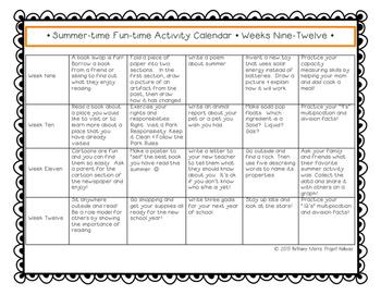Summer Activity Calendar: End-of-the-Year FREEBIE! {12-Weeks & 60 Tasks!}
