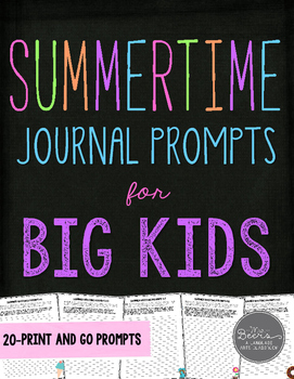 Summertime Journal Prompts for Grades 4-8 Common Core Aligned