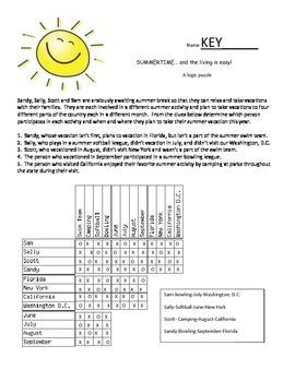 Summertime Logic Puzzle