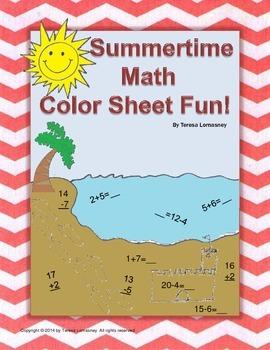 Summer Packet: Math Summertime Color Sheet Fun!