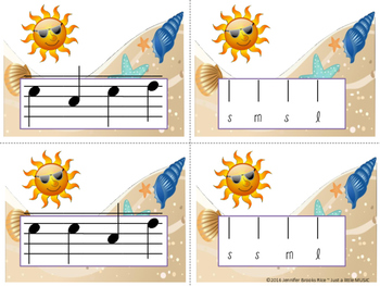 Summertime Melody Matching--A stick to staff notation game {sol mi la}
