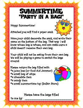 Summertime Party in a Bag for End of Year
