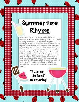 Summertime Rhyme {Word Sort}