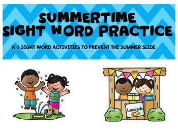 Summertime Sight Word Practice K-1