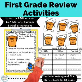 End of Year Activities or Summer School ELA Stations for 1st Grade