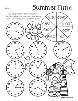 Summertime TROLLS: Telling Time Spinners (to the 5 Minutes)