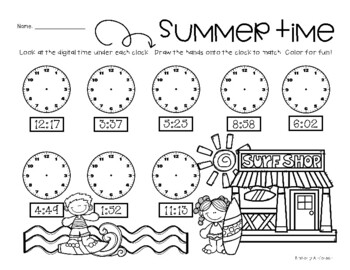 Summertime: Telling Analog Time (to 1 Minute)