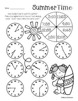 Summertime: Telling Time Spinners (to the 5 Minutes)