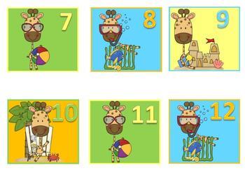 Summertime Themed Calendar Numbers (calendar pieces) ABCD Pattern