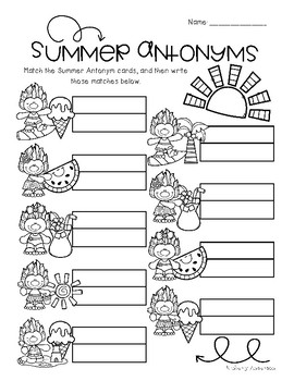 Summertime Trolls: Antonyms Match Center (Basic)