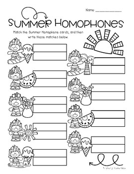 Summertime Trolls: Homophone Word Match Center