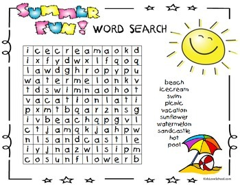 Back to School-Summertime Word Search-Includes Three Levelled Word Searches!
