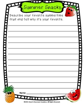 Summertime Writing Prompts