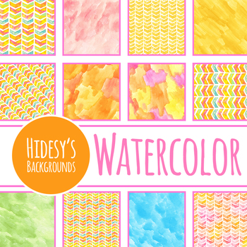Summery Yellow, Orange and Pink Watercolor Handpainted Digital Papers