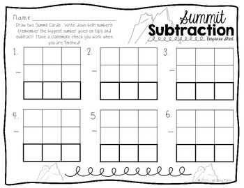 Summit Subtraction {Winter Math Station} Common Core Aligned