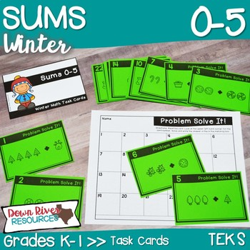 Sums 0-5 Math Task Cards | Addition | Action of Joining | Winter