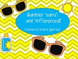 """Sums and Differences"" of Summertime!  Fun printable math games"