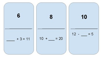 Sums and Differences to 20 Domino Activity