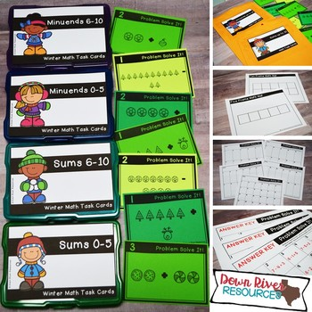 Sums and Minuends to 10 Math Task Cards Bundle | Addition & Subtraction | Winter