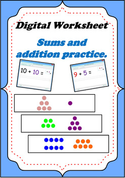 Sums and addition digital practice exercises for smartboard