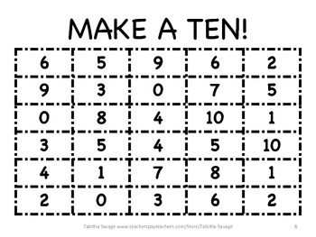 Sums of 10 - Make a Ten game!