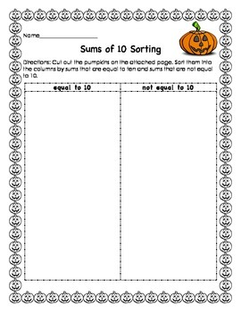 Combinations of 10 Sorting: Pumpkin Themed