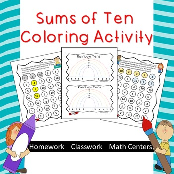 Sums of 10 coloring activity--Securing fact families of 10.